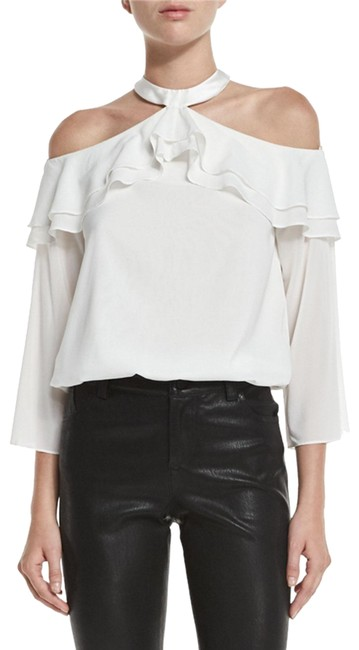 Preload https://item1.tradesy.com/images/alice-olivia-white-layla-cold-off-shoulder-ruffle-blouse-size-0-xs-22802575-0-1.jpg?width=400&height=650
