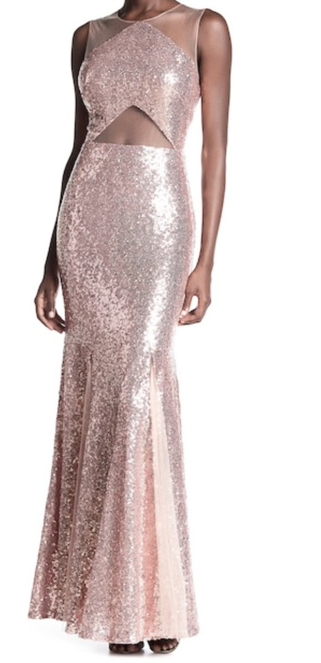 Nordstrom Blush Illusion Sequined Gown Long Formal Dress Size 6 (S ...
