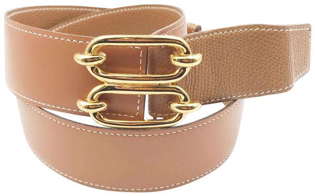 Item - Brown Gold Plated Double Buckle Wide Belt