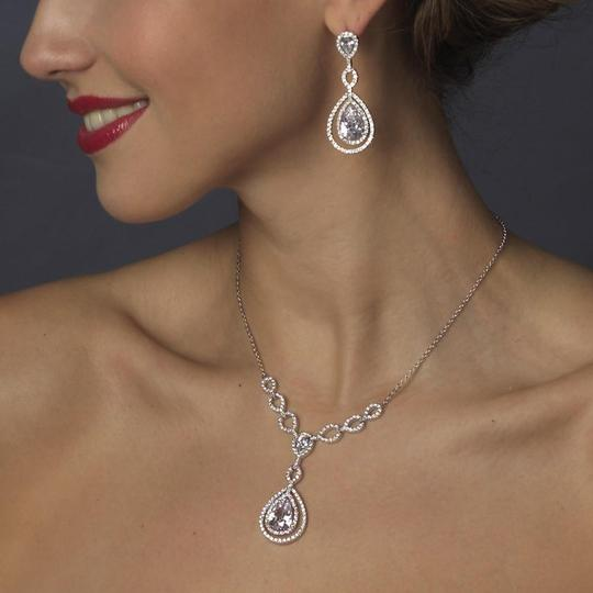 Elegance by Carbonneau Silver Plated Clear Cubic Zirconia Necklace Earring Jewelry Set