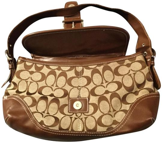 Coach Monogram Studded Satchel in Khaki and Walnut Leather