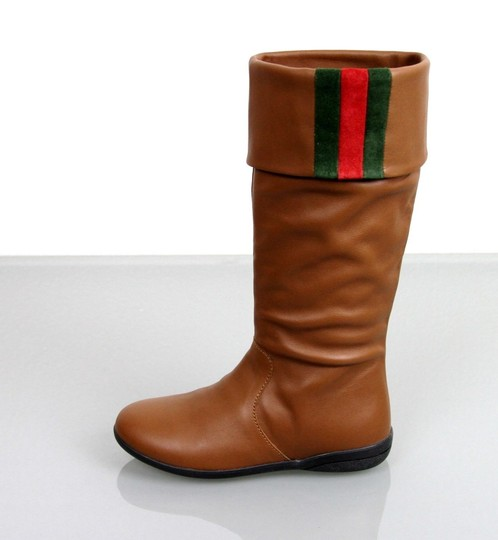 Gucci Brown Kids Unisex Leather Boots W/Web Detail G 28/ Us 11 285230 Shoes