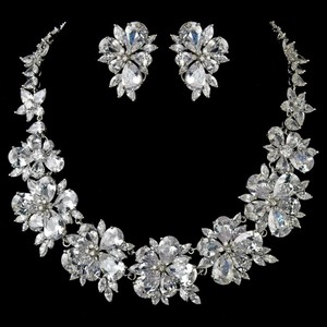 Elegance by Carbonneau Silver Plated Clear Cz Crystal Necklace Earring Jewelry Set