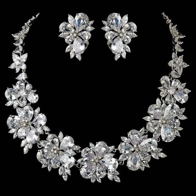 Item - Silver Plated Clear Cz Crystal Necklace Earring Jewelry Set