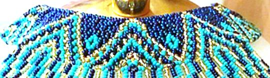 Dovajean Turquoise and Blue Coral Seed Bead Bib Necklace Pendant