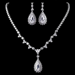 Elegance by Carbonneau Silver Plated Clear Cz Necklace Earring Jewelry Set