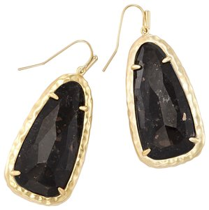 Kendra Scott Black and Gold Lyn Granite Plated Brass Hammered Drop Earrings