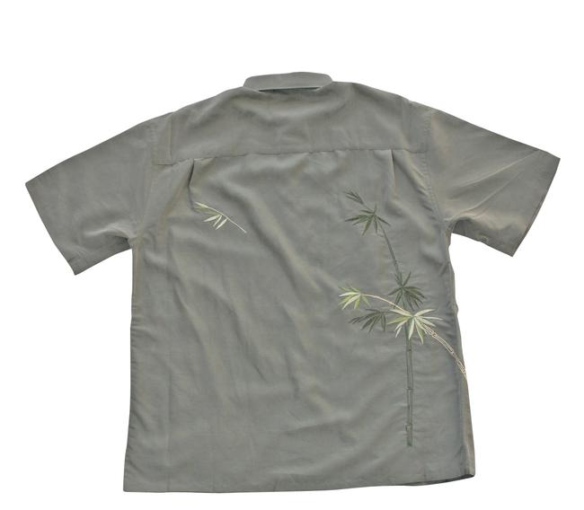 Olive green men 39 s flying embroidered camp shirt medium for Bamboo button down shirts
