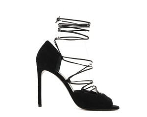 Saint Laurent Lace-up Gladiator Pumps Peep-toe Black Sandals