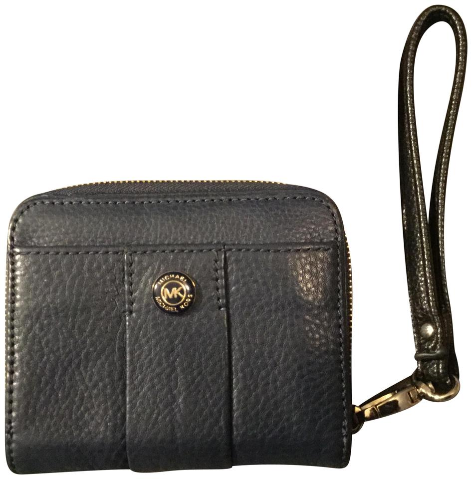 7a539ade94e5 Michael Kors Leather Logo Hardware Wristlet in Navy Blue with Gold & Black  Studded MK Log ...
