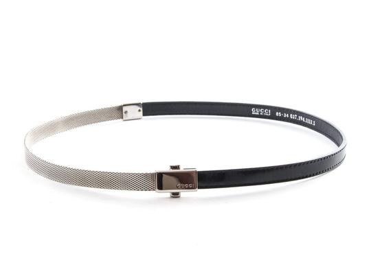 Gucci Gucci Chain Mesh & Black Leather Mini Skinny Belt