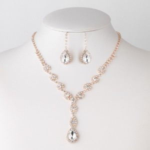 Elegance by Carbonneau Rose Gold Clear Crystal Rhinestone Dangle Jewelry Set