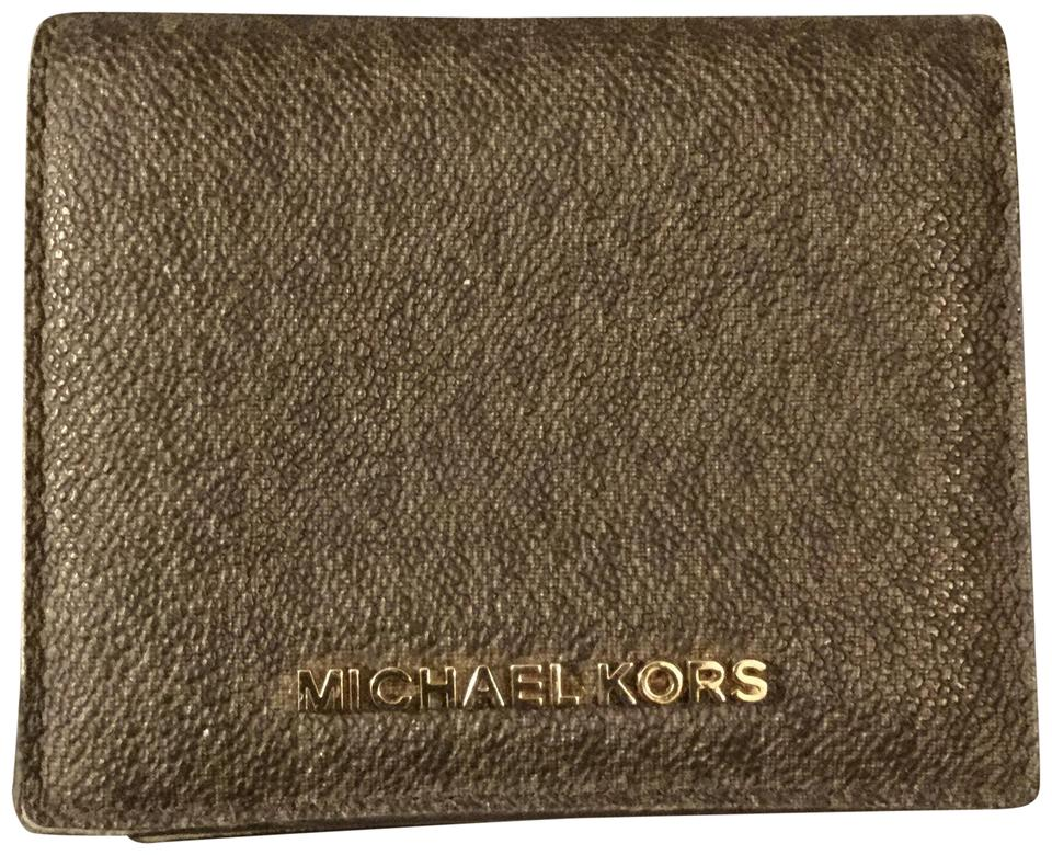 b4fd058c9041 Michael Kors Monogram Wallet Brown Leather Wristlet - Tradesy