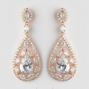 Elegance by Carbonneau Rose Gold - Silver Or Gold Teardrop Cz Crystal Chandelier Earrings