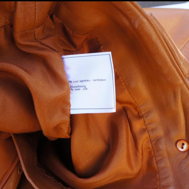 Chanel Leather Gold Tone Wide Leg Pants Brown