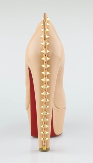 Christian Louboutin Spike Leather Heels Nude Platforms