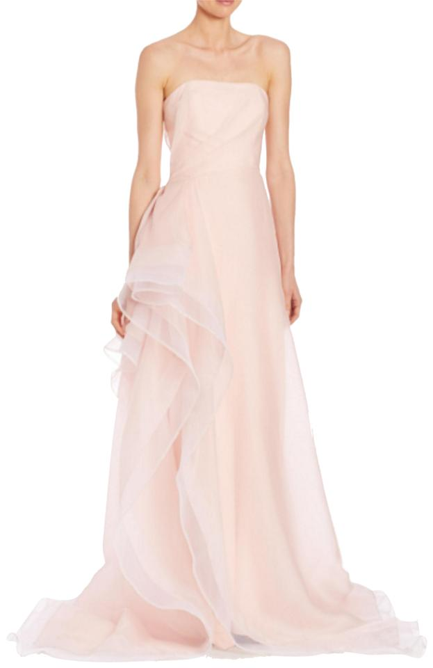 Pamella Roland Pink Ruffled Silk Organza Strapless Gown Formal Dress ...
