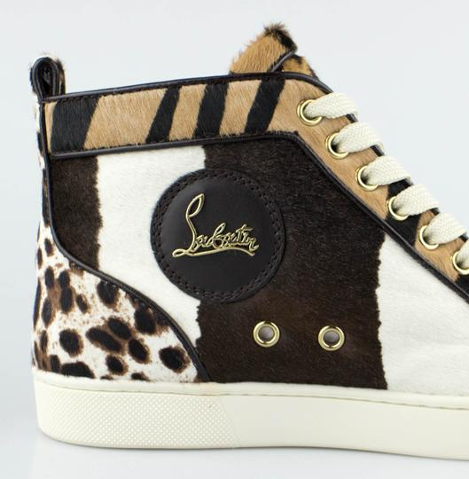 Christian Louboutin Pony Hair Sneakers Lace-up Brown Athletic
