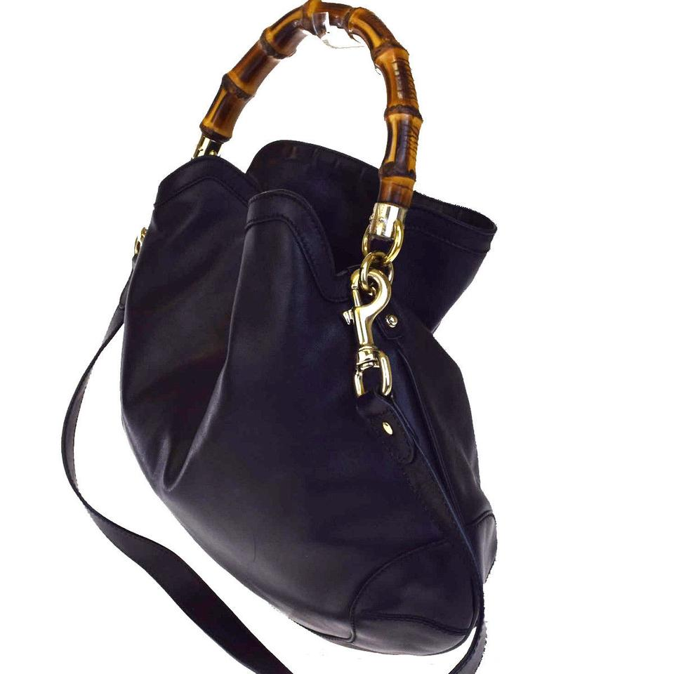 4b204cb9ae23 Gucci 2way Bamboo Shoulder Hand Bamboo Italy 62ea534 Black Leather Hobo Bag  - Tradesy