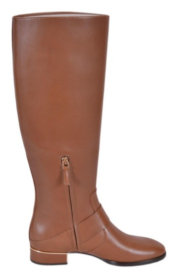Tory Burch Riding Leather Festival Brown Boots