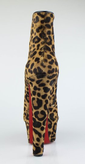 Christian Louboutin Pony Hair Platform Leopard Brown Boots
