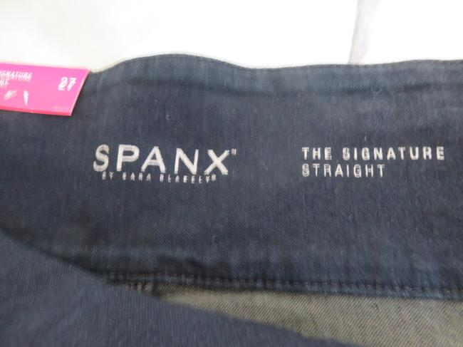 Spanx Stretched Waistband Straight Leg Jeans-Dark Rinse