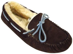 UGG Australia Suede Leather Shearling Casual Comfortable Brown Flats