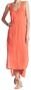 Orange Maxi Dress by Bordeaux Cool Viscose Lining Scoop Front Scoop Back Slub Linen Side Slits