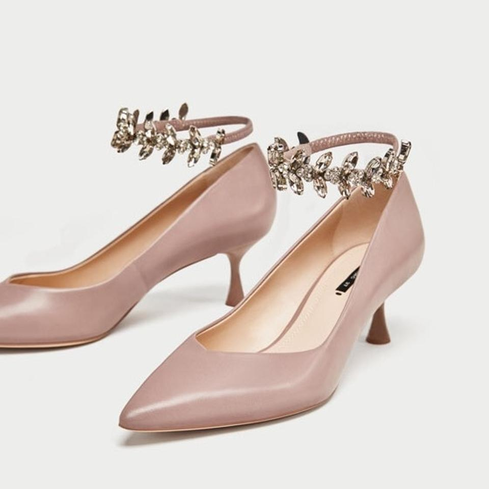 805464f4e3f609 Zara Leather Nude Kitten Heels with Removable Jeweled Straps Pumps ...