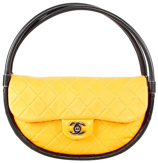 Preload https://item1.tradesy.com/images/chanel-leather-hula-hoop-shoulder-bag-yellow-22804175-0-1.jpg?width=440&height=440