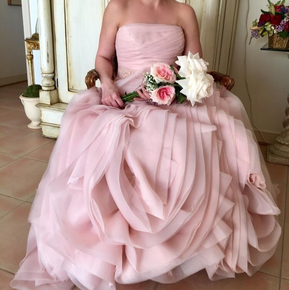 White By Vera Wang Blush Pink Organza Trumpet Gown