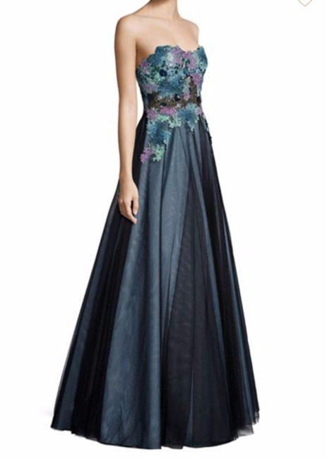 Item - Teal Multi Strapless Lace Ball Gown Long Formal Dress Size 2 (XS)
