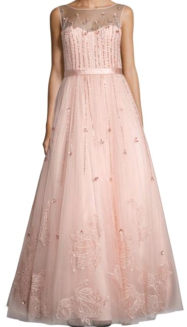 Item - Pink Illusion Neck Sequined Gown Long Formal Dress Size 10 (M)
