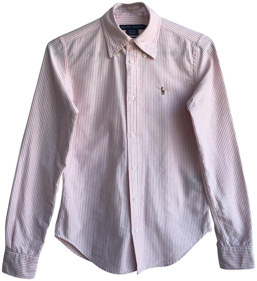 Polo ralph lauren pink and white striped oxford shirt for Pink and white ralph lauren shirt