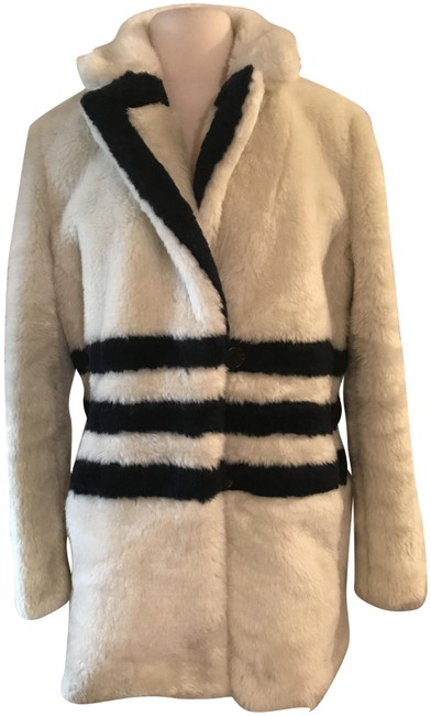 Item - Ivory Navy The Teddy In Striped Plush Fleece Coat Size 8 (M)