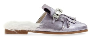 Zara Leather Metallic Faux Fur Purple Mules