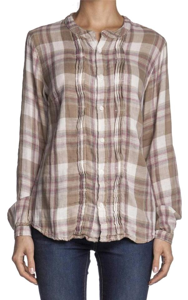 Cp shades beige lizzne button down top size 6 s tradesy for Gauze button down shirt
