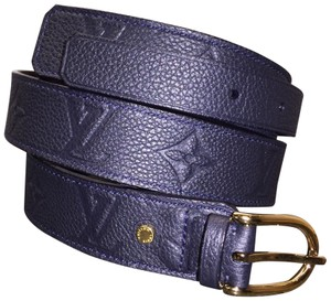 Louis Vuitton Gracieuse Empreinte Leather Belt 80/32 Dark Navy ((can pass for black!))