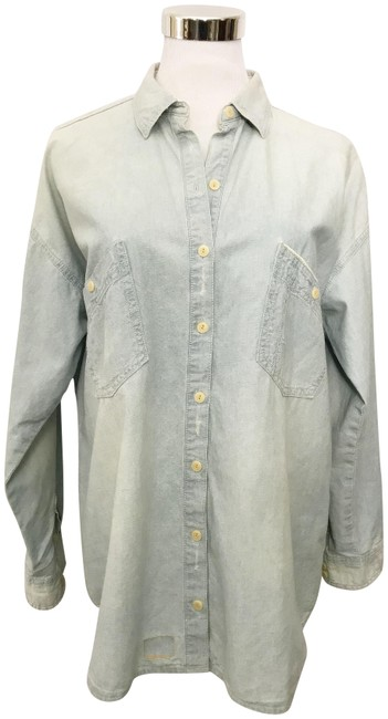 Item - Blue Trafaluc Collection Light Chambray Denim Shirt Button-down Top Size 8 (M)