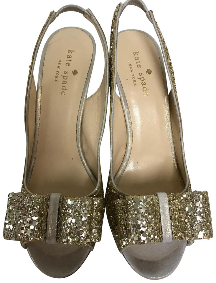 2d1cdf93b80 Kate Spade Gold New York Charm Glitter Slingback Peep Toe Pumps B Formal  Shoes