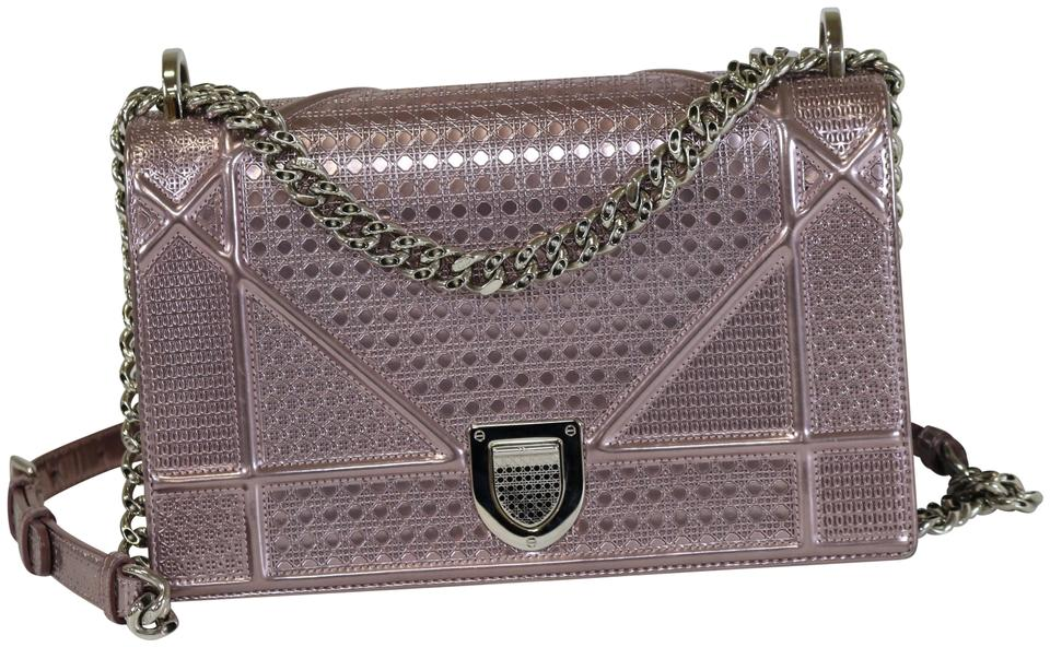 9e5fe0f17a64 Dior Micro-cannage Medium Diorama Flap Pink Metallic Calfskin Cross Body Bag