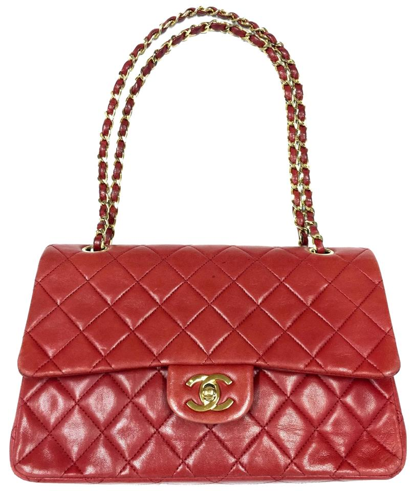 1c2a825020cfc Chanel Classic Double Strap Red Lambskin Leather Shoulder Bag - Tradesy