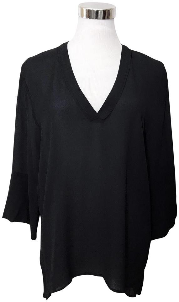 adafa16bbd9cf8 Zara Black Woman V Neck Hi Lo Hem 3/4 Bell Sleeves Blouse Size 4 (S ...