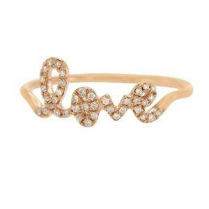 Sydney Evan Sydney Evan 14K Rose Gold Pave Diamonds Love Ring