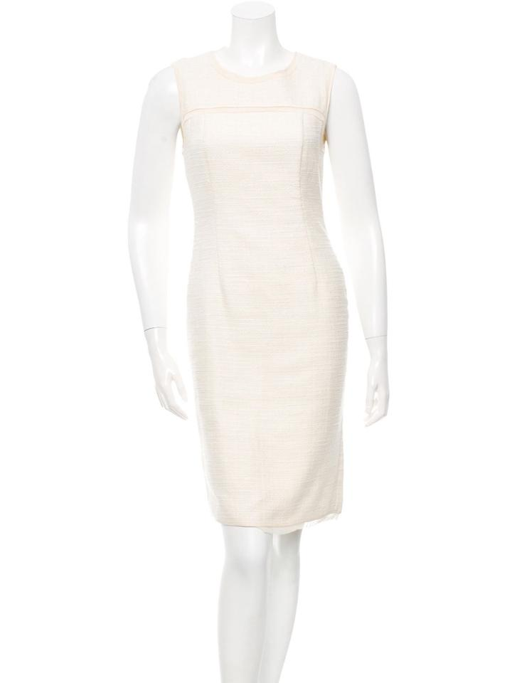 2be79ac57d12 Magaschoni Off White Sleeveless Boucle Ivory Cream Woven Mid-length ...