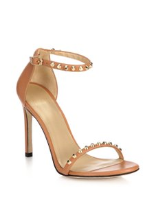 Stuart Weitzman Studded Leather Ankle Strap 'Meil Vachetta' Brown/Tan/Nude Pumps