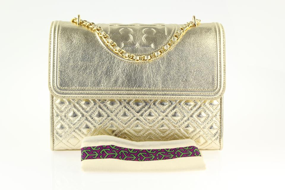 fa125aa39b4 Tory Burch Fleming Convertible Spark Gold Leather Shoulder Bag - Tradesy