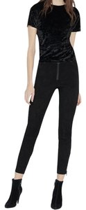 Alice + Olivia Suede A+o And Crop Skinny Pants Black
