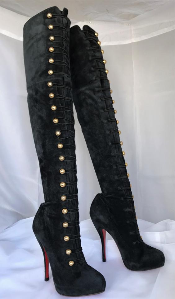 198ac5f5013 Christian Louboutin Black Ronfifi Supra Suede Platform Over Knee Thigh High  Heel Lady Red Sole Boots/Booties Size EU 36 (Approx. US 6) Regular (M, B)