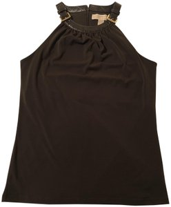 MICHAEL Michael Kors Hardware Crocodile Trim Dressy Excellent Condition Chocolate brown Halter Top
